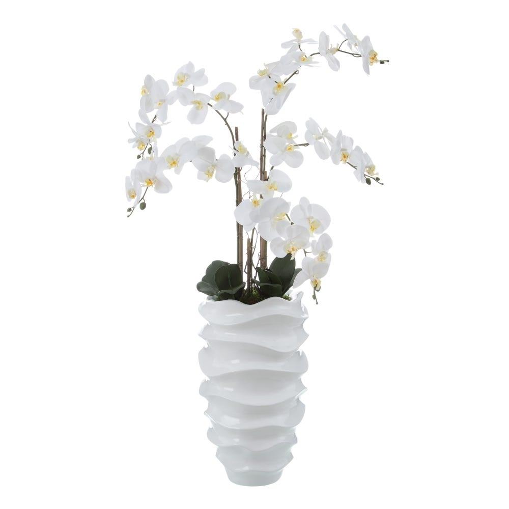 "<span class=""title-long"">Orhidee artificiala cu aspect realist in ghiveci decorativ din ceramica Orhidee Phalaenopsis H110cm</span>"
