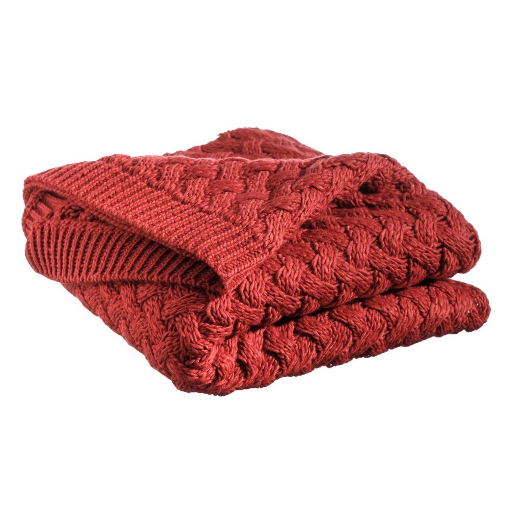Patura tricotata din acril Entrelac L127cm imagine 2021 insignis.ro