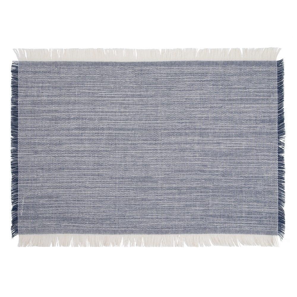 Suport farfurie bej/albastru cu franjuri Elegance L46cm imagine 2021 insignis.ro