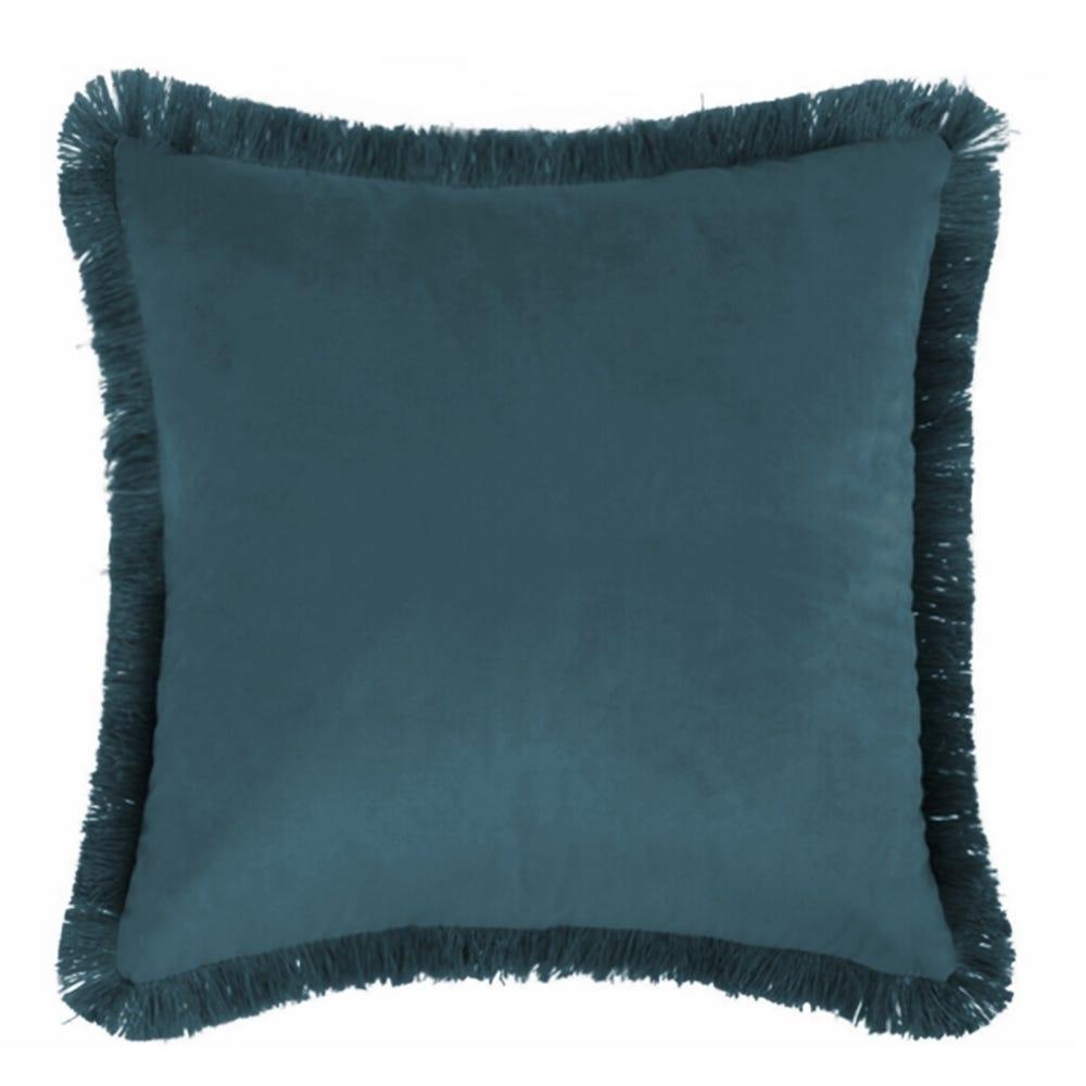 Perna decorativa din catifea albastra cu franjuri Alba L45cm imagine 2021 insignis.ro