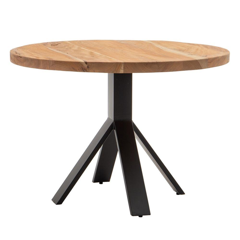 Masa rotunda cu blat din lemn de mango Comedor D110cm imagine 2021 insignis.ro