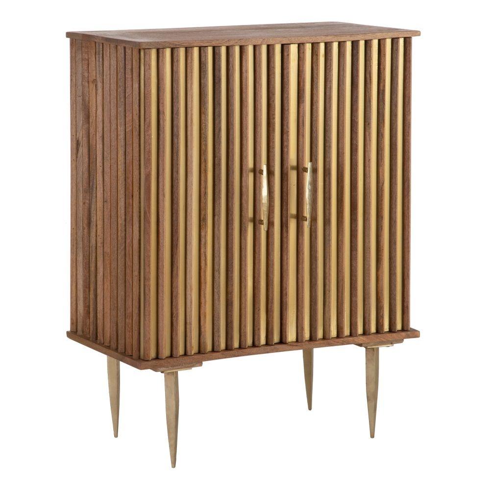 Dulap din lemn de mango cu picioare metalice aurii Lines H101cm imagine 2021 insignis.ro