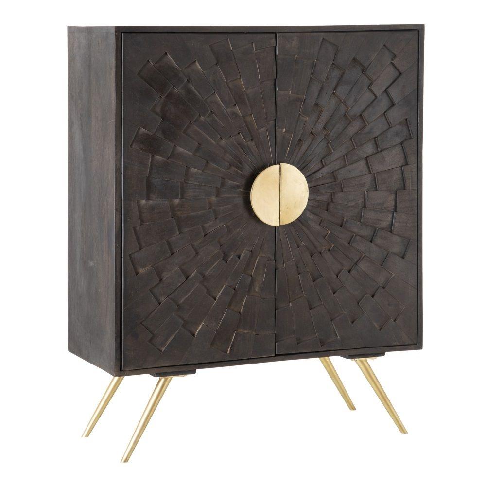 Dulap din lemn de mango cu picioare metalice aurii Moon H115cm imagine 2021 insignis.ro