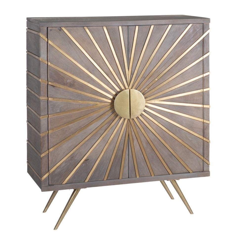 Dulap din lemn cu insertii metalice aurii Sunburst H114cm imagine 2021 insignis.ro