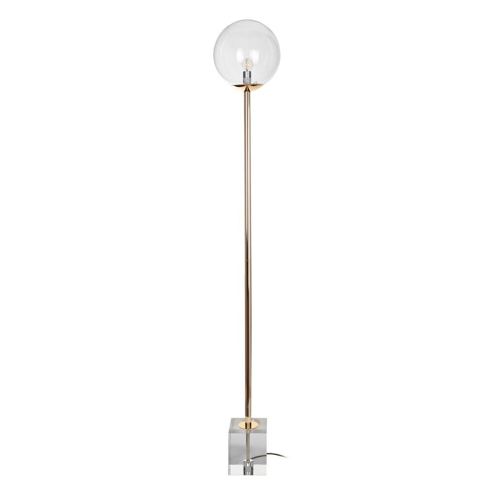 Lampadar de podea cu abajur si baza transparenta de sticla Clear H172cm imagine 2021 insignis.ro