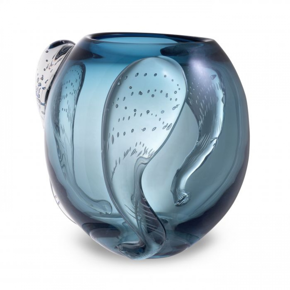 Vaza Eichholtz albastra Sianluca L din sticla suflata manual 32x28cm imagine 2021 insignis.ro