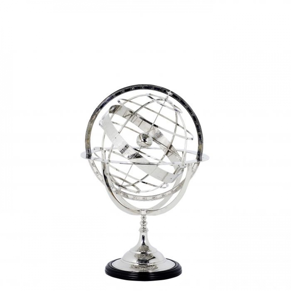 Obiect decor Eichholtz Globe cu finisaj nichel si baza neagra 16x29cm imagine 2021 insignis.ro