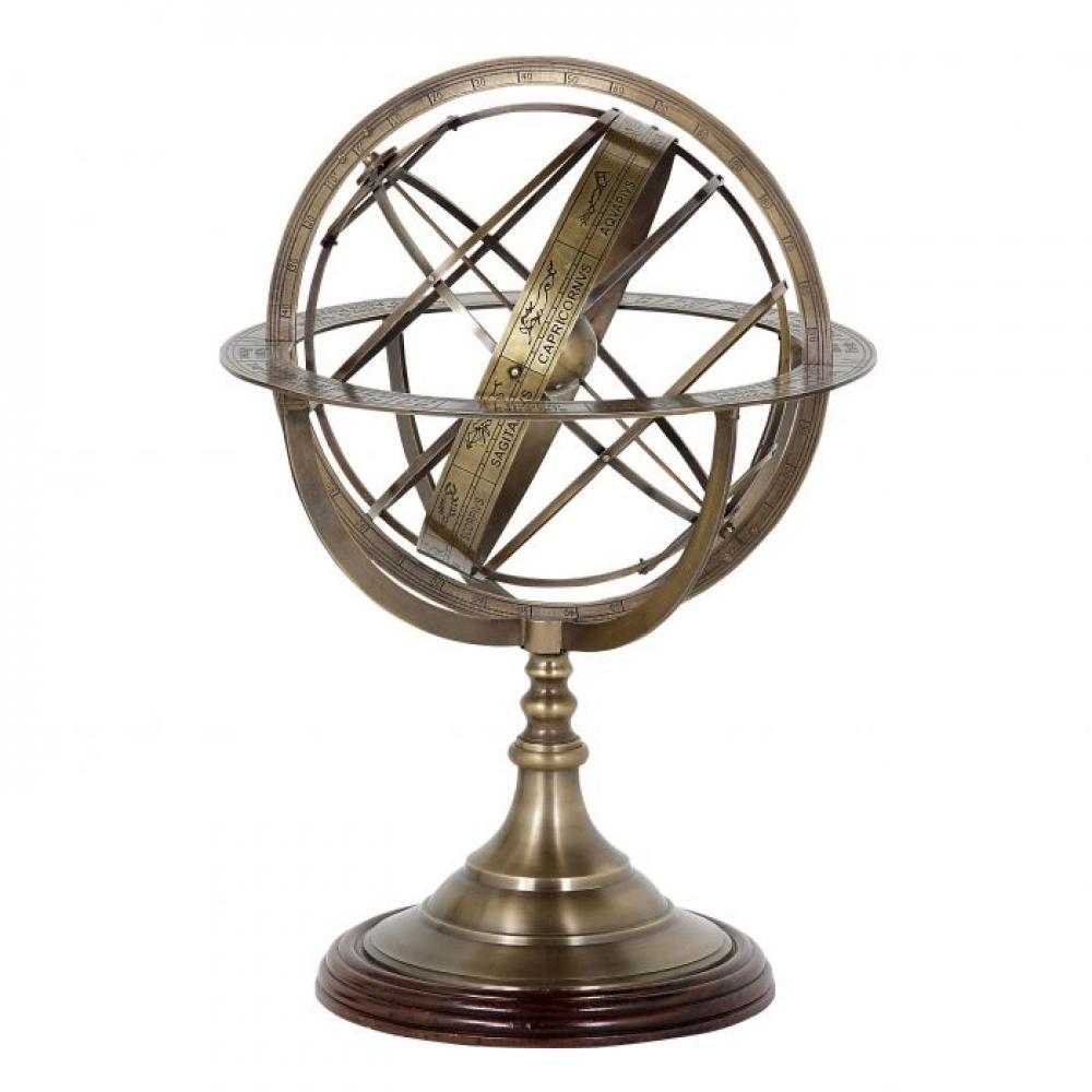 Obiect decor Eichholtz Globe L cu finisaj alama antica si baza maro 32x52cm imagine 2021 insignis.ro