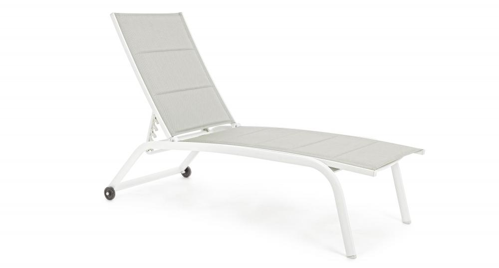 Sezlong exterior reclinabil Cleopas din aluminiu si material textil imagine 2021 insignis.ro