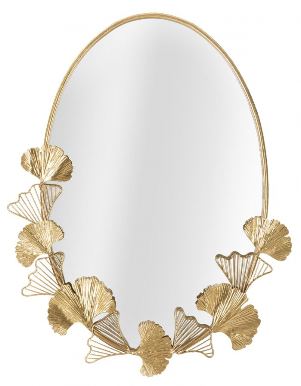 Oglinda rotunda cu rama metalica si flori metalice aurii Flores 615x3x78cm image0