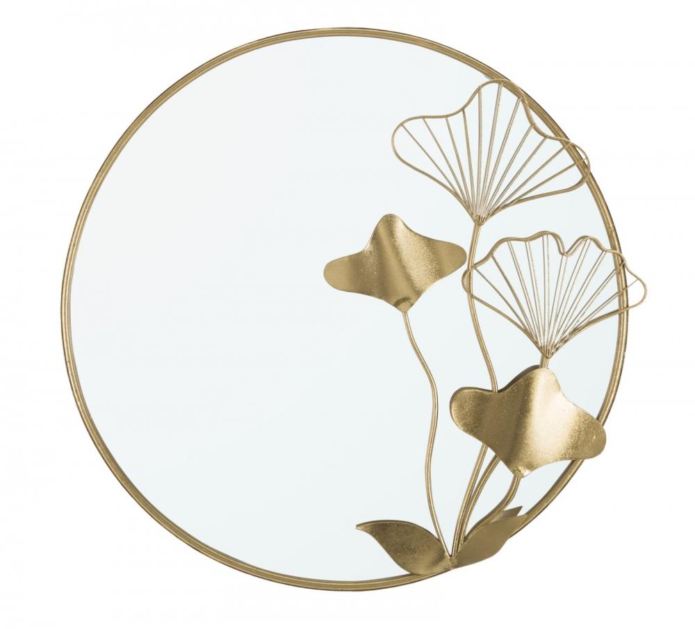 Oglinda rotunda cu rama si flori metalice aurii Ginko 75x35x72cm image0