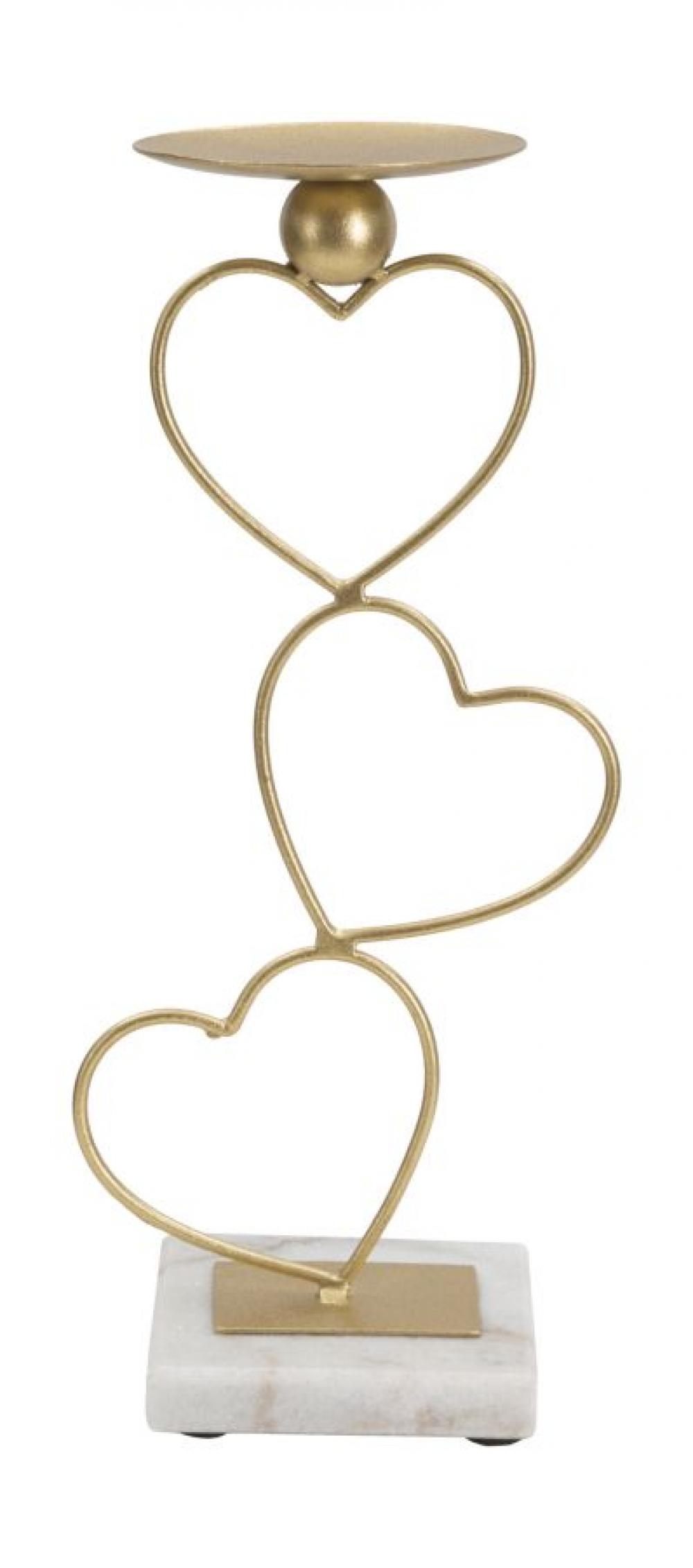 Suport pentru lumanari auriu cu baza din marmura Love 145x10x325cm image0