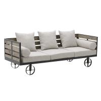 Canapea 3 locuri pe structura de lemn gri  L192