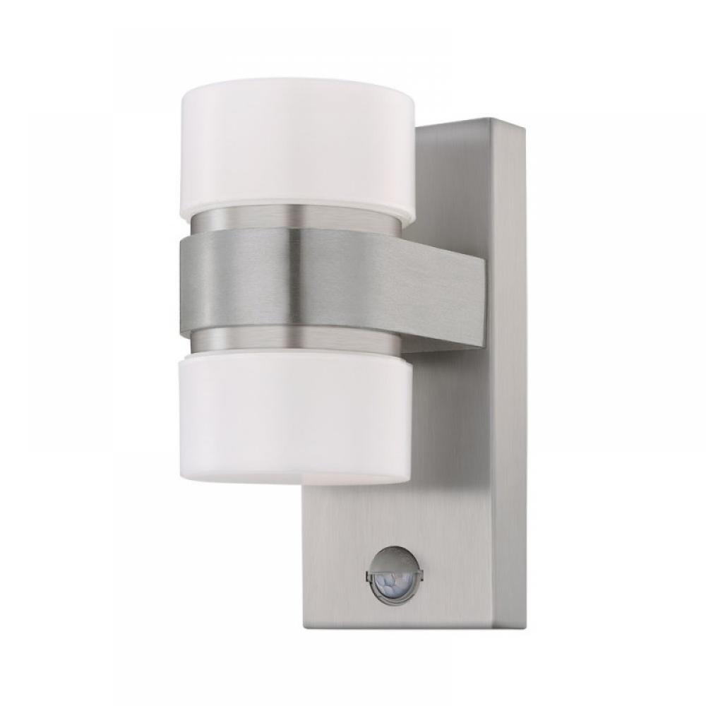 Aplica exterior LED Atollari cu senzor de miscare 2X6W 1000lm 3000K argintiu imagine 2021 insignis.ro