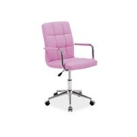 Scaun cu rotile de birou piele Lino roz