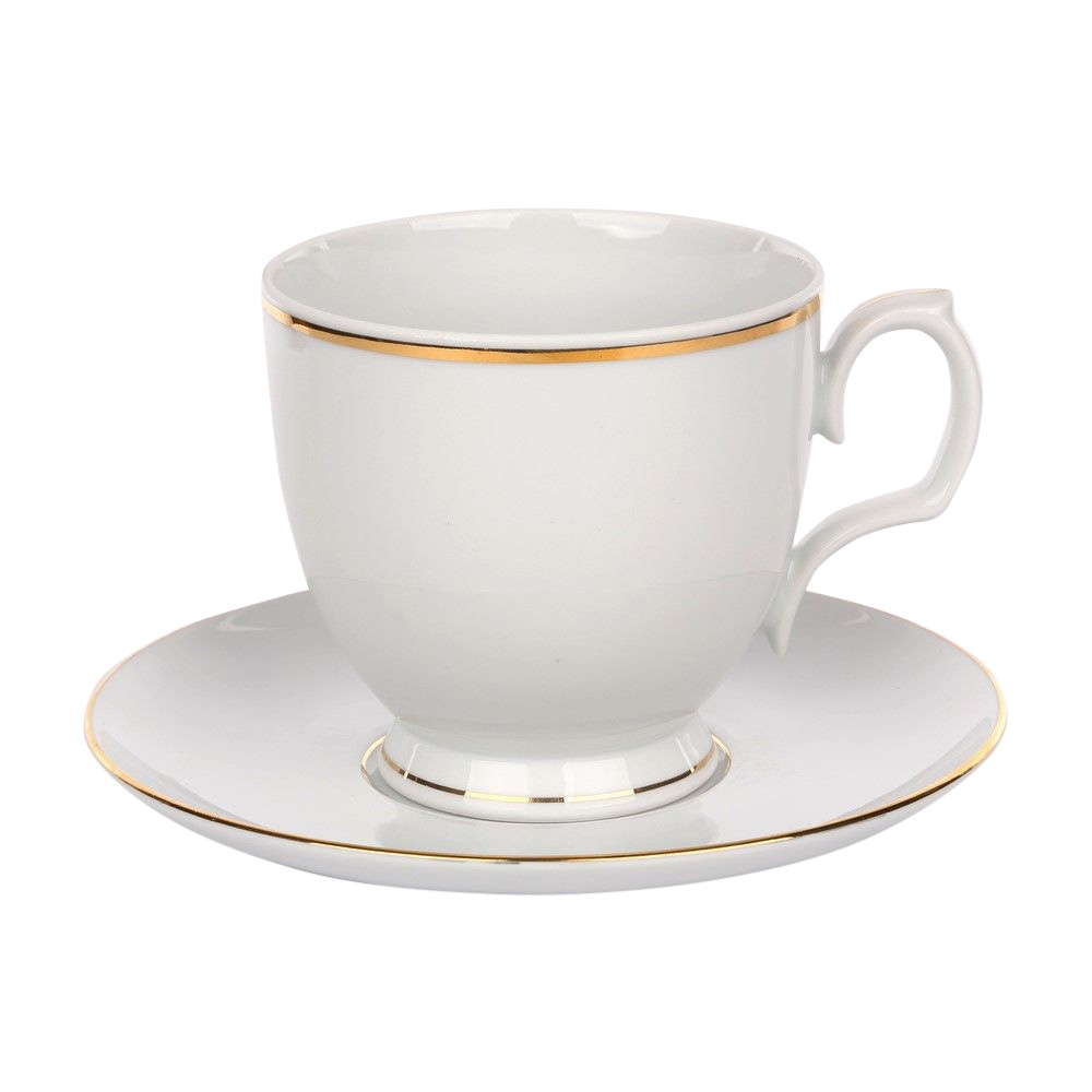 Cana cappuccino cu farfurie din portelan MariaPaula GoldenLine 350ml imagine 2021 insignis.ro