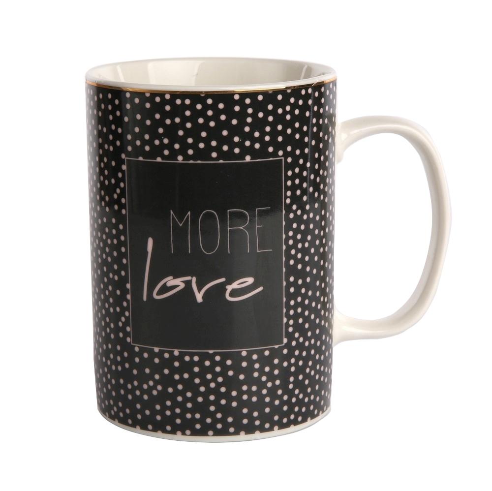 Cana de cafea din portelan Negru Love 350ml imagine 2021 insignis.ro
