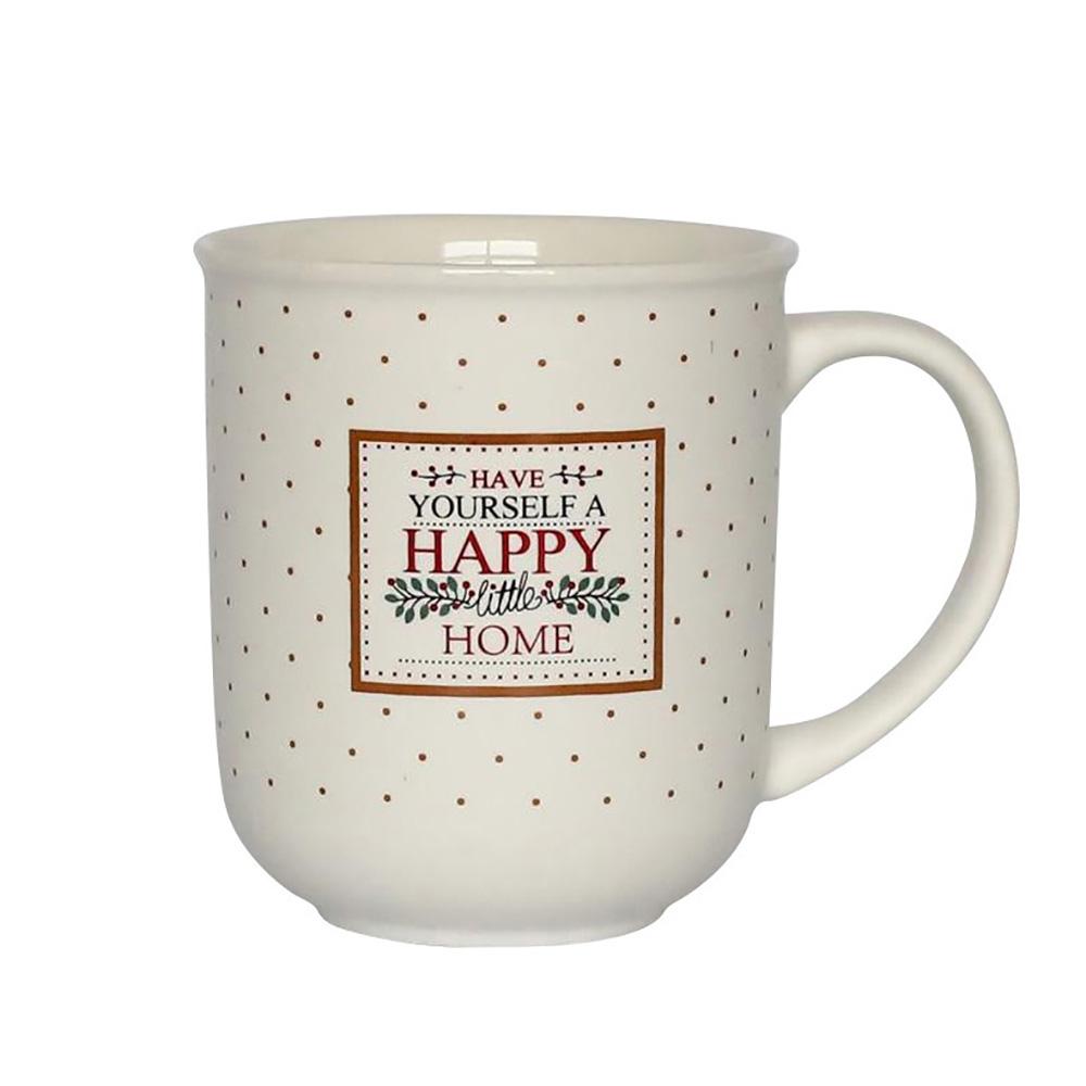Cana de cafea din portelan Alb HappyHome 300ml imagine 2021 insignis.ro