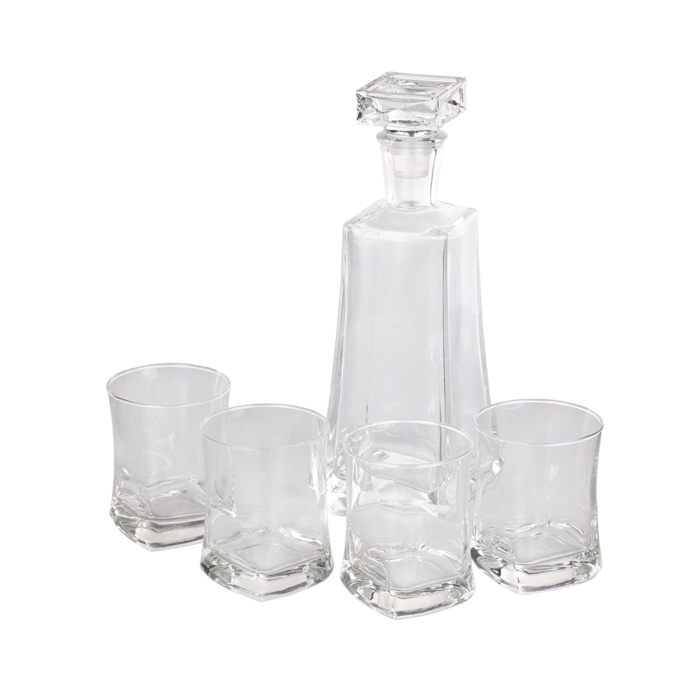 Set 4 pahare si sticka de whisky Stephanie 750ml/280ml imagine 2021 insignis.ro