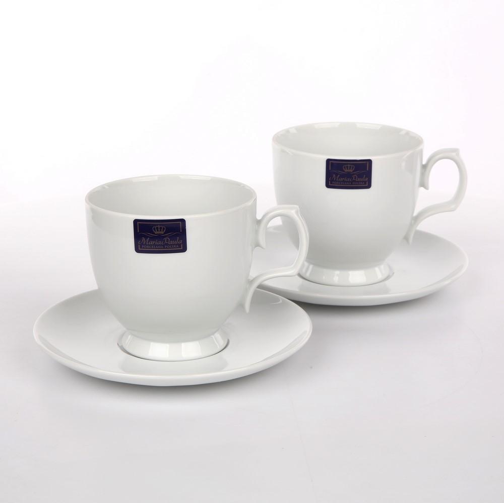 Set 2 cesti cappuccino din portelan MariaPaula Biala 350ml 4 piese imagine 2021 insignis.ro