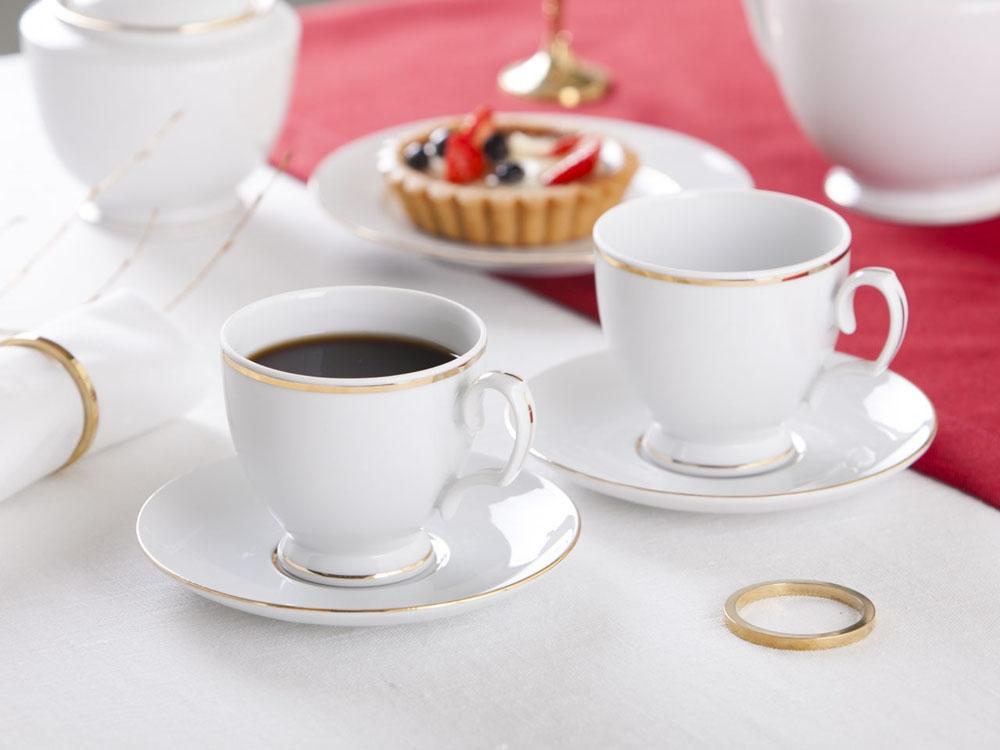 Set ceai/cafea 2 persoane din portelan MariaPaula GoldenLine 220ml imagine 2021 insignis.ro