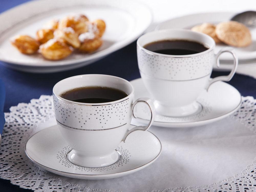 Set cafea 2 persoane din portelan MariaPaula Snow 220ml imagine 2021 insignis.ro
