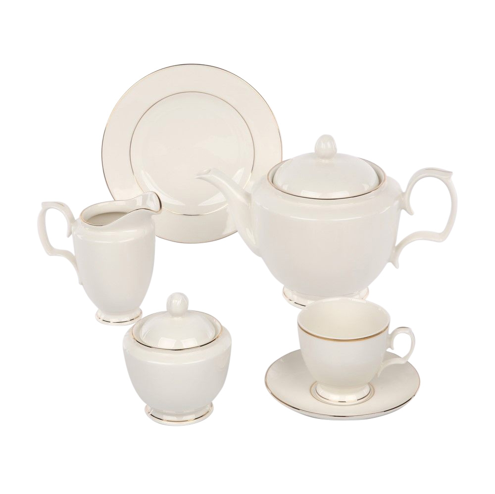 Serviciu ceai/cafea 12 persoane MariaPaula Ecru GoldLine 39 piese imagine 2021 insignis.ro