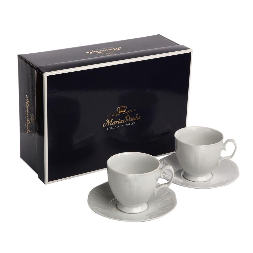 Set cafea 2 persoane din portelan Geometria Bianco 220ml 4 piese imagine 2021 insignis.ro