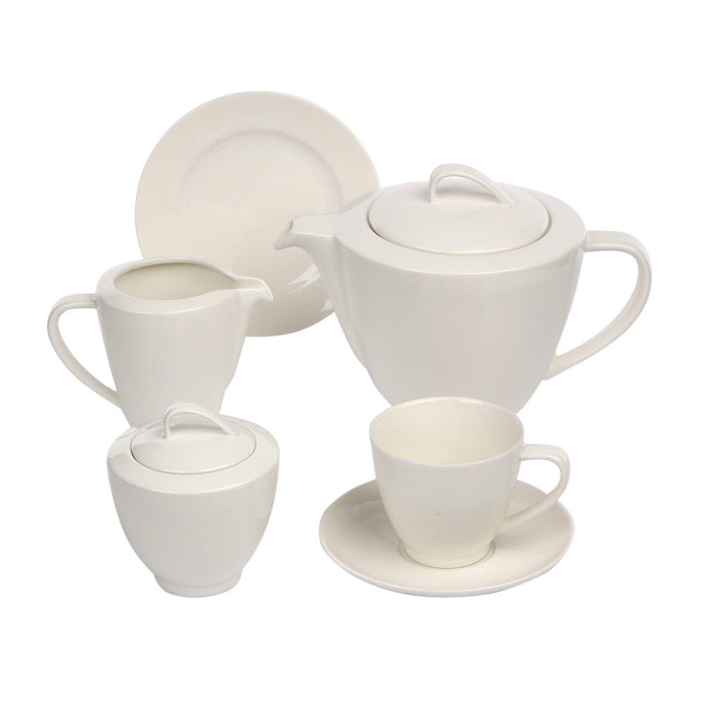 Serviciu ceai/cafea 6 persoane din portelan MariaPaula Ecru Nova 21 piese imagine 2021 insignis.ro
