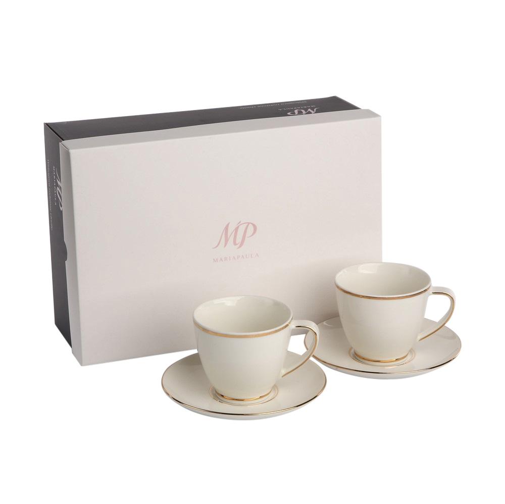 Set cafea 2 persoane din portelan MariaPaula Nova GoldenLine 4 piese imagine 2021 insignis.ro