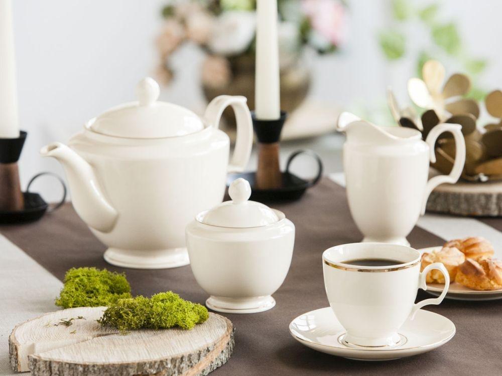 Set de cafea pentru 6 persoane MariaPaula Ecru GoldLine 21 piese imagine 2021 insignis.ro